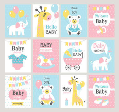 Set of baby shower cards. Vector illustrations.