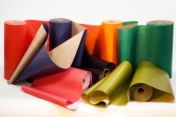 colored paper in rolls for packing purchases and gifts
