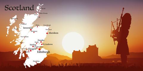 Ecosse - Tourisme - Carte - Coucher de soleil