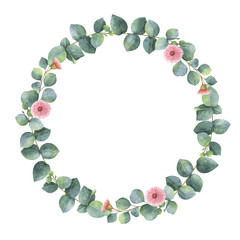Watercolor oval wreath with silver dollar eucalyptus.