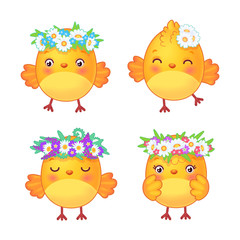 Set of cute easter chickens with wreaths in vector. Design elements for greeting card, scrapbook, party decoration - yellow chicks on white background.