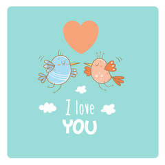 Card by Valentine's Day. Couple in love. Cute cartoon birds. Funny animals. Vector image. Symbol of heart in the sky.