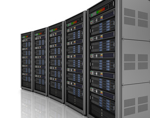 Row of network servers in data center isolated on white background . 3D illustration
