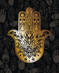 Gold Hamsa on black background