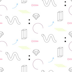 Modern geometry seamless vector pattern. Abstract shapes, color arrows and elements in eighties fashion style. Geometric spirals and diamond on white.