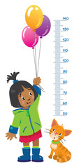 Meter wall or height chart with girl and kitten