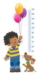 Meter wall or height chart with boy and puppy