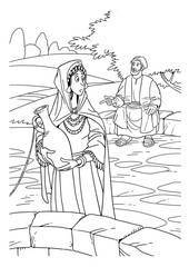 Jesus talking to the Samaritan woman at the well
