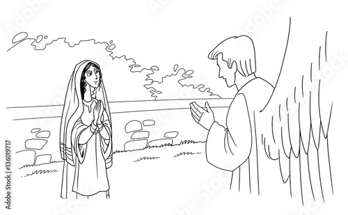 Christmas Jesus Birth Drawing.The Angel Gabriel Tells Mary About The Birth Of Jesus Christ