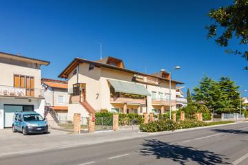 Sunny view of residential dictrict of Lido di Jesolo near Venice, Veneto region, Italy.