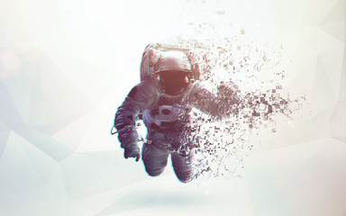 Fototapete - Astronaut in outer space modern minimalistic art. Dualtone, anaglyph. Elements of this image furnished by NASA
