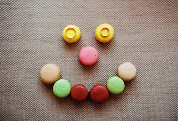 Macaroon smile and wedding rings
