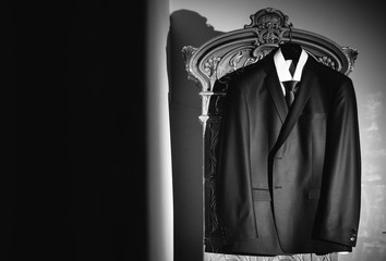Black and white photo of the suit for a groom