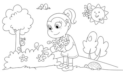 Coloring cute girl picking flowers in a sunny wood.