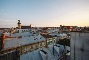 Amazing view on the old city Lviv