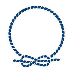 Icono plano circulo de cuerda con nudo azul en fondo blanco
