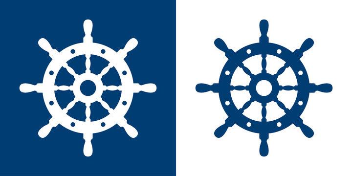 Icono plano timon azul y blanco