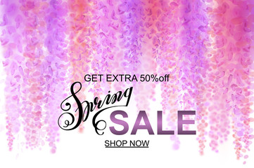 Advertisement about the spring sale on defocused background with beautiful blooming wisteria. Vector illustration