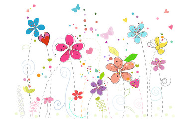 Spring time colorful doodle flowers