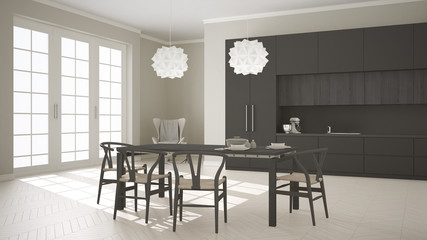 Scandinavian classic white kitchen with wooden and gray details,