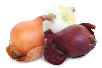Red, yellow and white onion bulbs of different colors (red, yell
