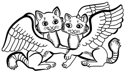 Vector illustration of cute angel cats couple black and white