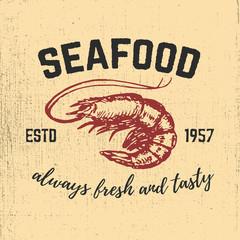 Shrimp hand drawn illustration on grunge background. Seafood. De