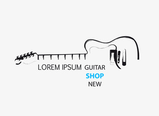 sketch guitar line logo template easy all editable