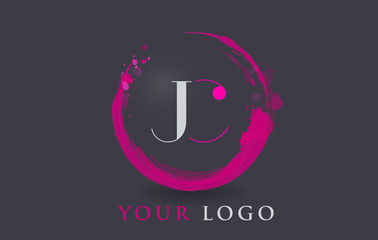 JC Letter Logo Circular Purple Splash Brush Concept.