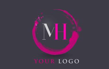 MH Letter Logo Circular Purple Splash Brush Concept.