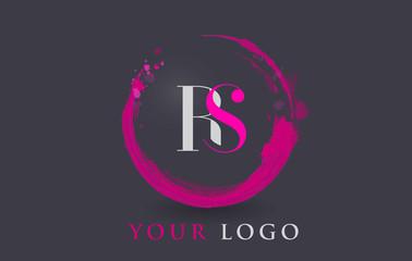 RS Letter Logo Circular Purple Splash Brush Concept.