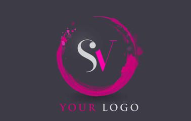 SV Letter Logo Circular Purple Splash Brush Concept.