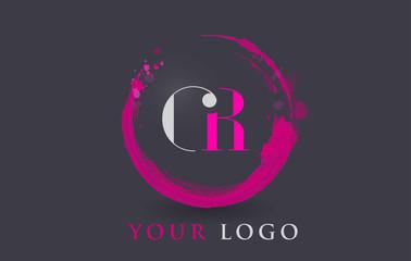 GR Letter Logo Circular Purple Splash Brush Concept.