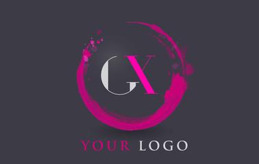 GX Letter Logo Circular Purple Splash Brush Concept.