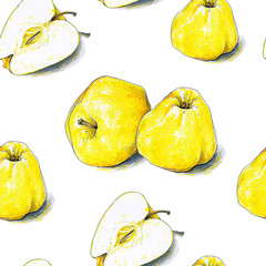 Yellow apples fruits are isolated on a white background. Color sketch felt-tip pens. Healthy food. Handwork. Fast schematic drawing. Seamless pattern for design.