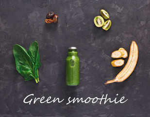 Natural detox green smoothie ingredients on black background