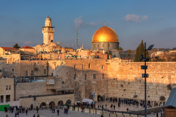 A sunset view of Temple Mount in Jerusalem Old City, Israel.