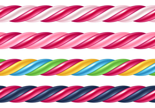 Twisted cane colorful borders set. Vector illustration.