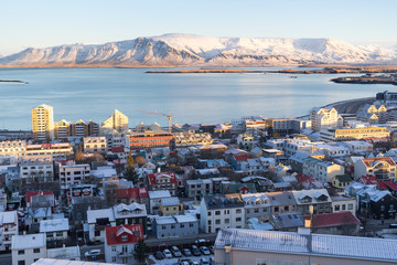 View of Reykjavik from the top of the Hallgrimskirkja Cathedral