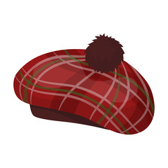 Scottish traditional cap icon in cartoon style isolated on white background. Scotland country symbol stock vector illustration.