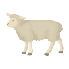 Sheep icon in cartoon style isolated on white background. Scotland country symbol stock vector illustration.