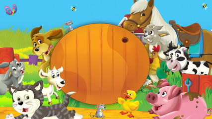 Happy and funny animals on the farm having fun together - illustration for children