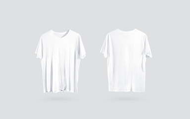 Blank white t-shirt front and back side view, design mockup. Clear plain cotton tshirt mock up template isolated. Apparel store logo branding dress. Crew shirt front and backwards