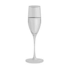 Glass of champagne icon in monochrome style isolated on white background. Wine production symbol stock vector illustration.