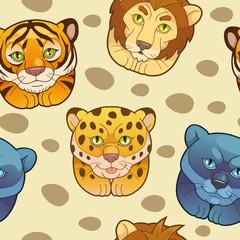 funny cartoon pattern wild cats