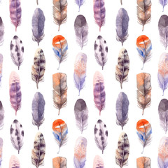 Seamless pattern. Hand drawn illustration - Background of Watercolor feathers. Aquarelle boho set. Isolated on white background. Perfect for invitations, greeting cards, posters, prints