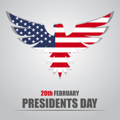 Presidents Day. Eagle with USA flag inside