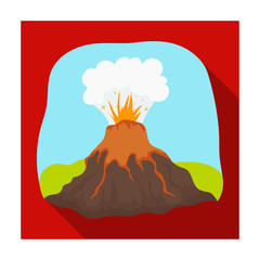 Volcano eruption icon in flat style isolated on white background. Dinosaurs and prehistoric symbol stock vector illustration.