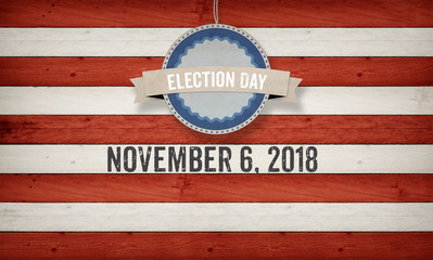 Election Day 2018, US American flag concept background