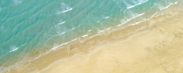 Top view of seashore beach - Aerial photo shooted with quadrocpt